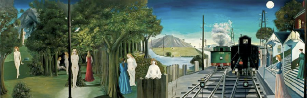 Paul Delvaux, le voyage légendaire, 1974 , huile sur toile, marouflée sur panneaux, 13,12 m x 4,40 m. Estimée de 1 à 2 million(s) d'euros. Gros et Delettrez, le 10 Décembre. Crédit photo Gros et Delettrez