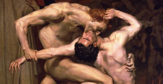William Bouguereau Dante et virgile, Détail