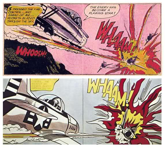 En haut, une planche de la bande dessinée Américaine All American Men of War. En bas, Whaam ! Roy Lichtenstein.