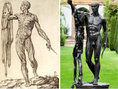 A gauche, Juan de Valverde de Amusco, anatomie du corps humain, 1559, gravure, National library of medecine.A droite, Damien Hirst, Saint Bartolomew, Exquisite pain, bronze, 250 x 110 x 95 cm.
