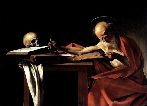Michelangelo Merisi dit Le Caravage, Saint Jérôme écrivant, 1606, huile sur toile, 112 x 157 cm, Galerie Borghèse, Rome.