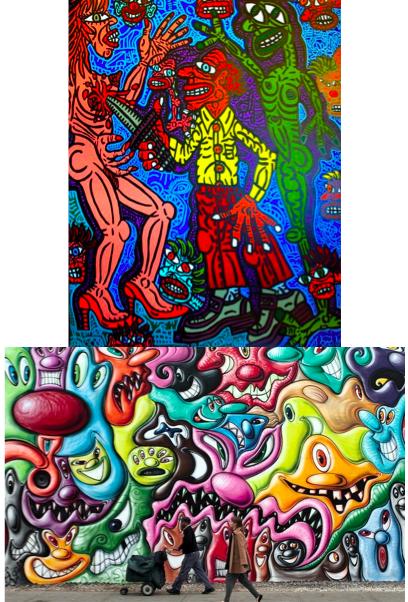 En haut, une oeuvre de Robert Combas, En bas une fresque de Kenny Scharf.
