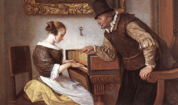 Jan Steen, La leçon de clavecin, huile sur toile, 36 x 48 cm, 1660, Wallace Collection (London).