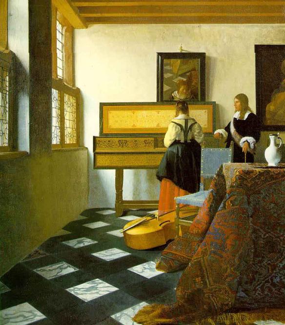 Jan Vermeer, La leçon de musique, vers 1662-65, huile sur toile, 74,6 x 64,1 cm, Royal Collection St James 's Palace.